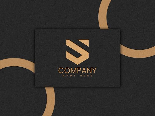 Maquete de logotipo de luxo com efeito de folha dourada