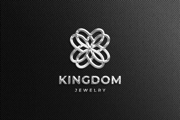Maquete de logotipo de luxo cromático de prata em fundo preto