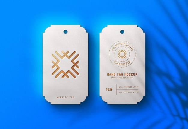 Maquete de logotipo de luxo em branco cair etiqueta
