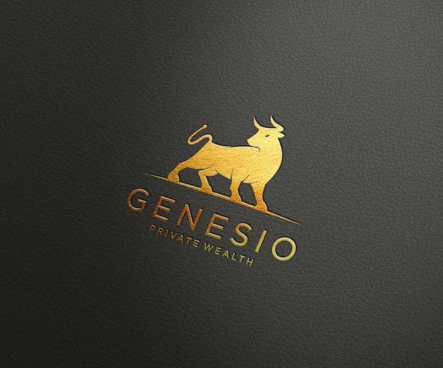 Maquete de logotipo de luxo em couro texturizado