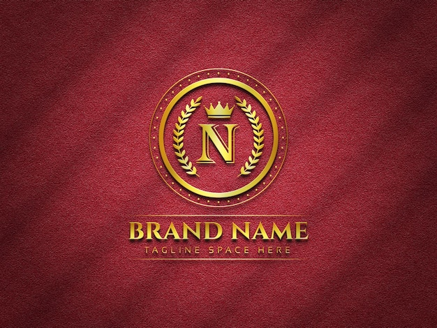 Maquete de logotipo de luxo em fundo de textura