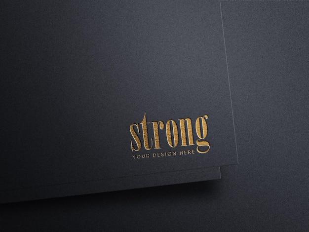 Maquete de logotipo de luxo em fundo preto