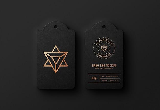 Maquete de logotipo de luxo em preto cair tag