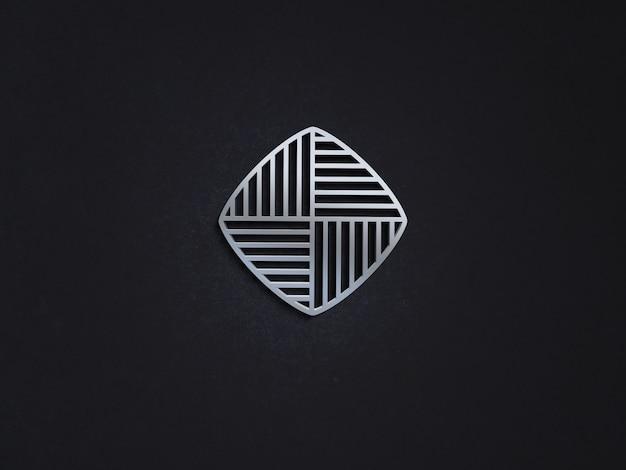 Maquete de logotipo de luxo em relevo de metal realista