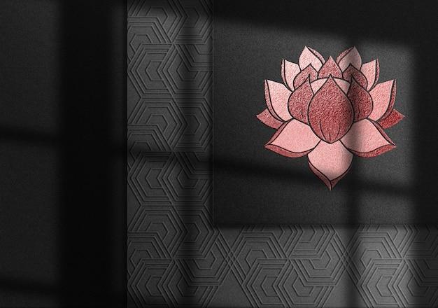 Maquete de logotipo de luxo em relevo vermelho