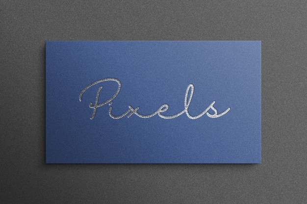 Maquete de logotipo de luxo estilo 3d com papel azul