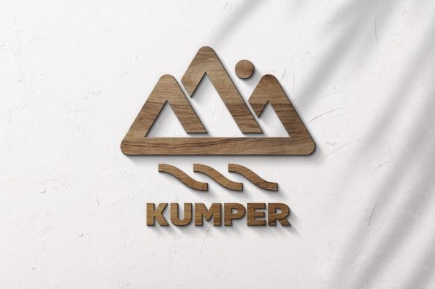 Maquete de logotipo de luxo madeira 3d na parede de superfície