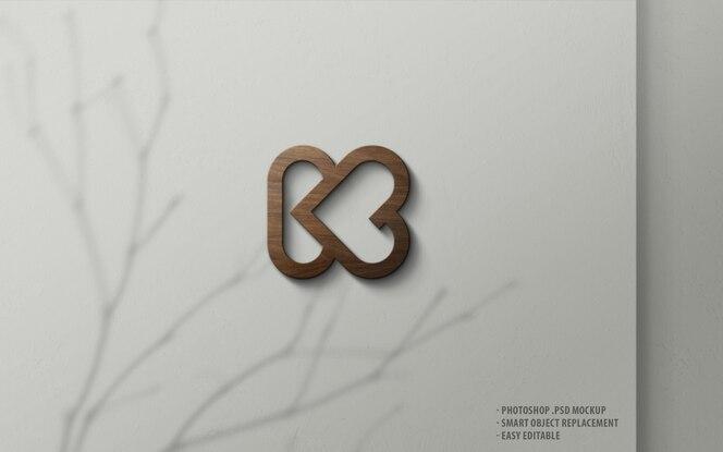 Maquete de logotipo de luxo madeira 3d na parede