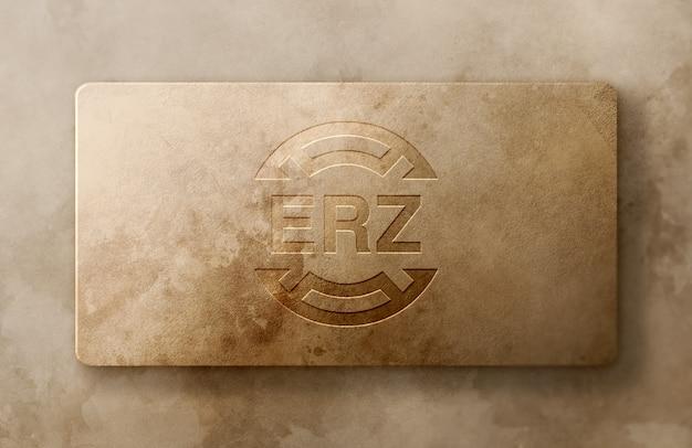 Maquete de logotipo de luxo na caixa de papel enferrujada