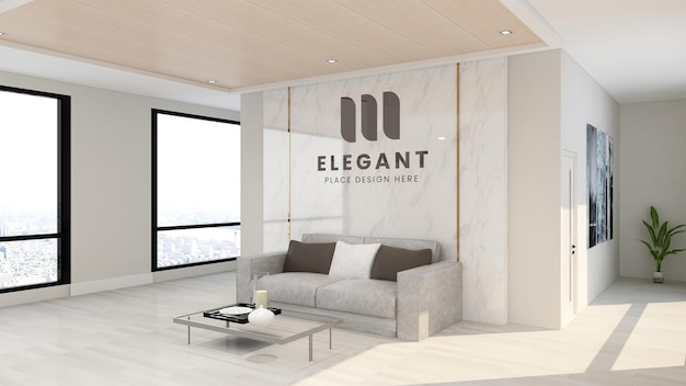 Maquete de logotipo de luxo na sala de escritório do hotel interno