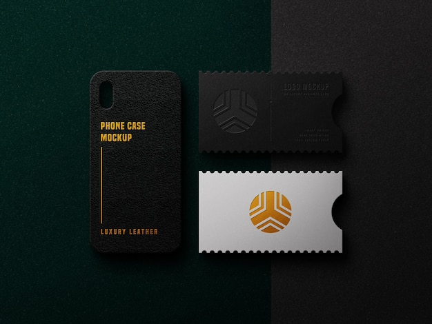 Maquete de logotipo de luxo no cartão e na capa do telefone
