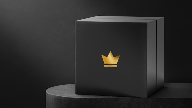 Maquete de logotipo de luxo preta para caixa de relógio