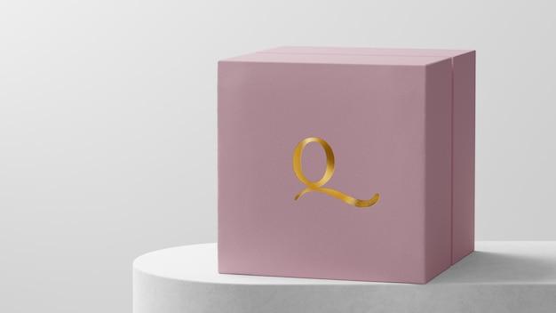 Maquete de logotipo de luxo rosa caixa de relógio