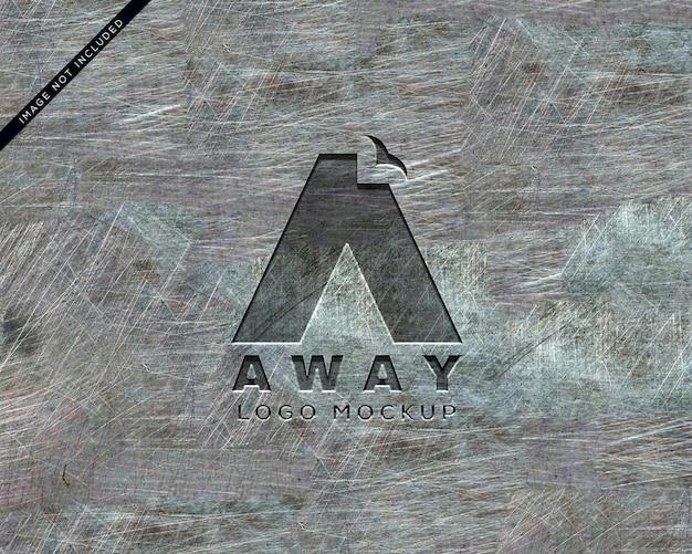 Maquete de logotipo de metal perfurado