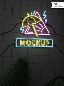 Maquete de logotipo de néon colorido