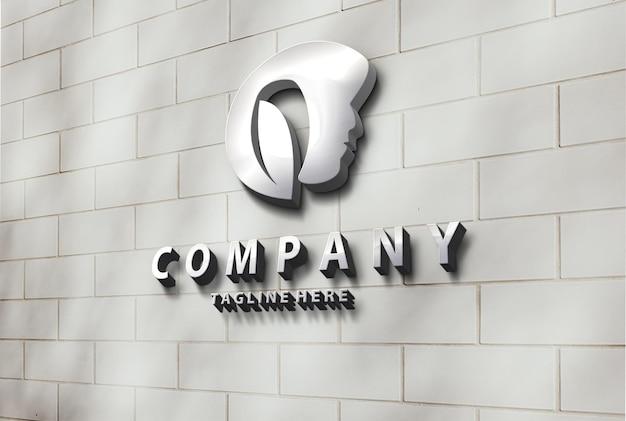 Maquete de logotipo de parede 3d metálica de beleza luxuosa