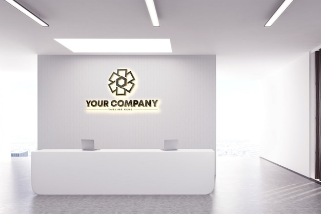 Maquete de logotipo de parede de logotipo de empresa 3d