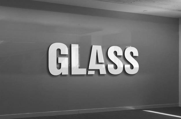 Maquete de logotipo de parede de vidro