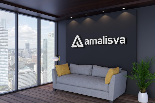 Maquete de logotipo de parede interior de escritório moderno