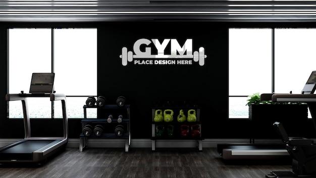 Maquete de logotipo de parede interna de academia moderna ou fitness