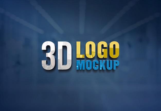 Maquete de logotipo de parede, maquete de logotipo de sinal de parede de vidro de escritório grátis, maquete de logotipo de sala de vidro de escritório