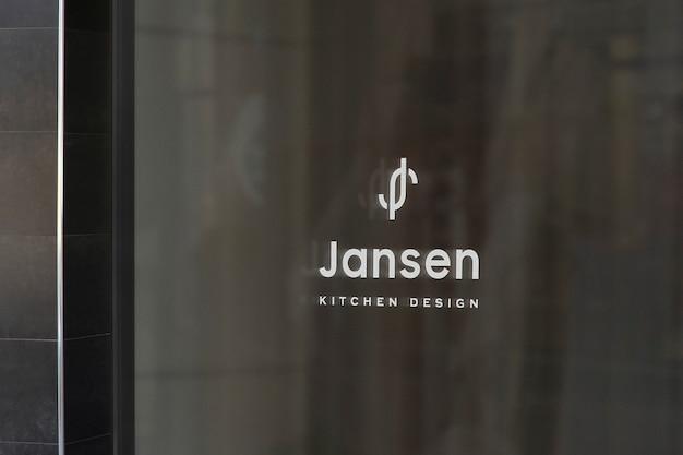 Maquete de logotipo de placa de janela de design de cozinha