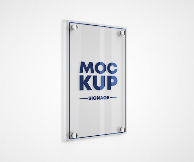 Maquete de logotipo de placa de metacrilato