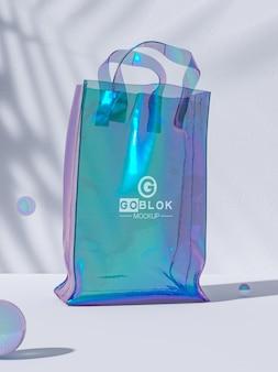 Maquete de logotipo de sacola de compras transparente