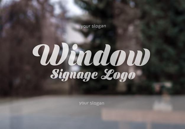 Maquete de logotipo de sinalização de janela
