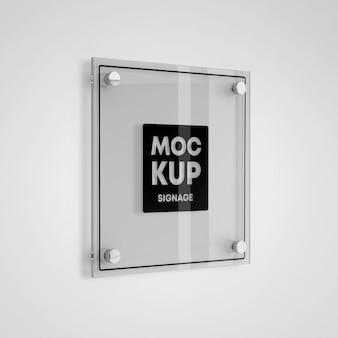 Maquete de logotipo de sinalização de vidro quadrado