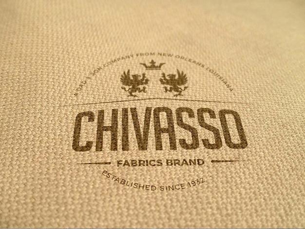 Maquete de logotipo de tecido realista