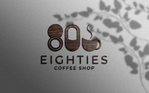 Maquete de logotipo de textura de madeira 3d na parede