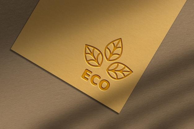 Maquete de logotipo de textura de superfície de papelão laranja