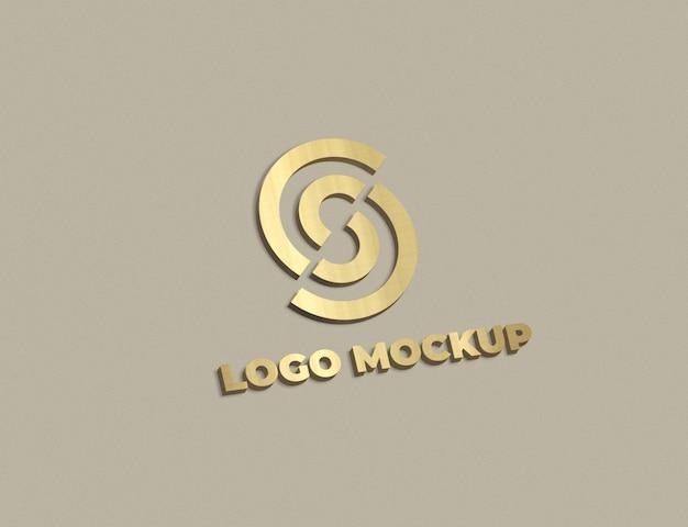 Maquete de logotipo dourado 3d