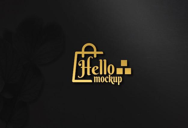Maquete de logotipo dourado de luxo