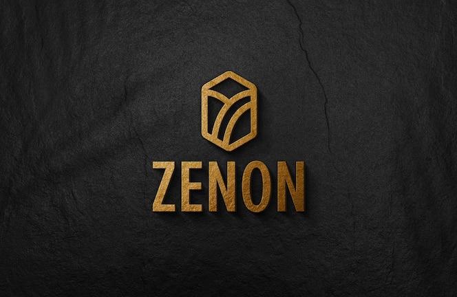 Maquete de logotipo dourado em relevo 3d na parede de superfície preta
