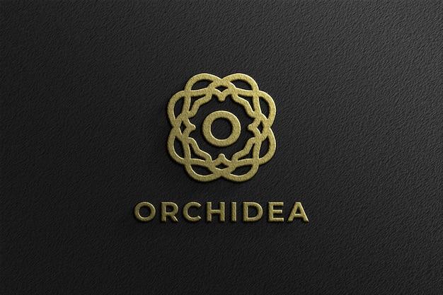 Maquete de logotipo dourado em relevo 3d simples