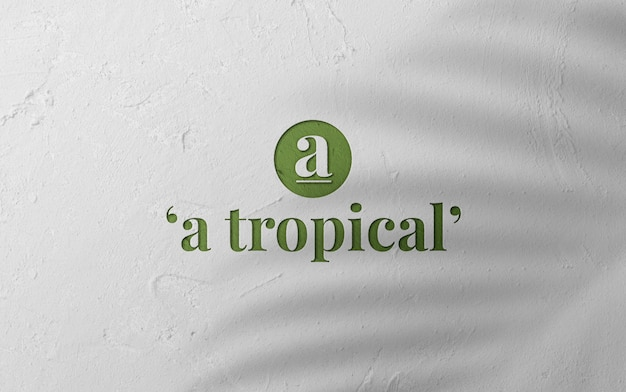 Maquete de logotipo elegante 3d na parede de superfície