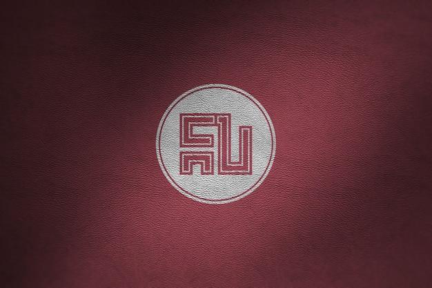 Maquete de logotipo em couro vermelho