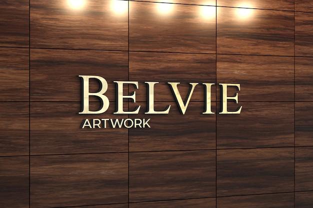 Maquete de logotipo em decoração de parede de madeira exótica