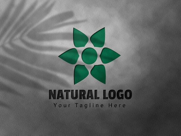 Maquete de logotipo em relevo e deboss com sobreposição de sombra
