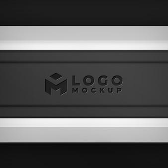 Maquete de logotipo em relevo preto realista