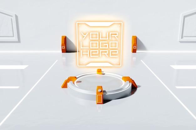 Maquete de logotipo futurista