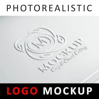 Maquete de logotipo - logotipo 3d na superfície de plástico branco