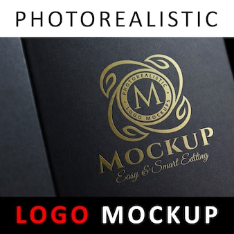 Maquete de logotipo - logotipo de estampagem de folha de ouro na caixa de jóias preta