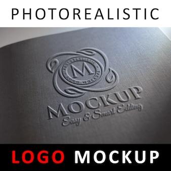 Maquete de logotipo - logotipo em relevo na capa preta