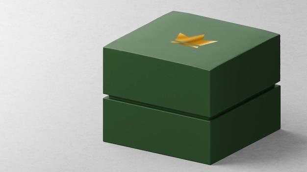 Maquete de logotipo luxuosa caixa de relógio de joias verde