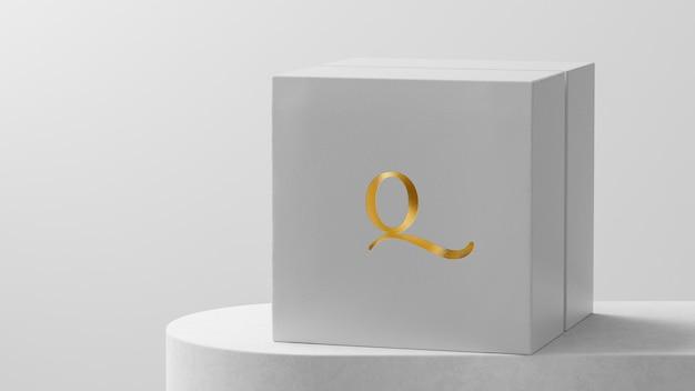 Maquete de logotipo luxuoso branco caixa de relógio