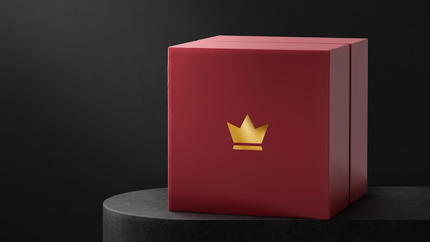 Maquete de logotipo luxuoso caixa de relógio de joias vermelhas