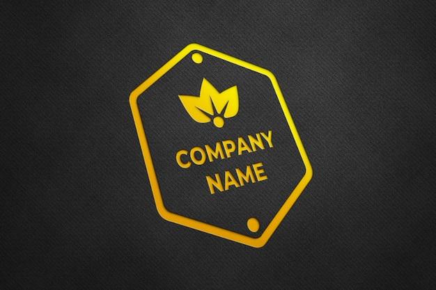 Maquete de logotipo luxuoso com textura dourada